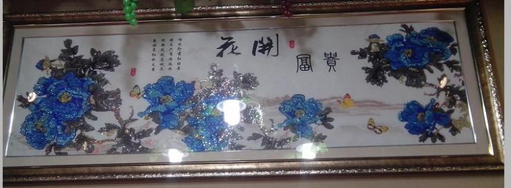 钻石画-花开富贵蓝牡丹成品