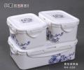韩国乐扣青花保鲜盒三件套 方形保鲜盒